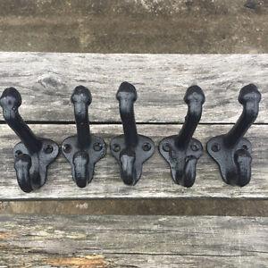 Lot-5-Cast-Iron-Wall-Coat-Hooks-Hat-Hook-Hall-Tree-2-3-4-034-Vintage-Style-Black