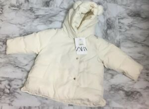 Zara Baby 9-12 Months White Down Feather Bear Cub Puffer ...