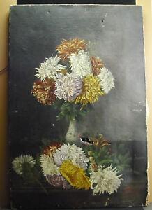 2019 Nouveau Style Signé L Gillard 1903 Peinture Bouquet De Dahlias,73 Cm Accidents Paint