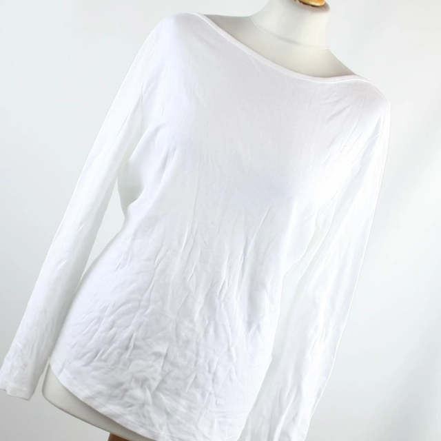 BHS Womens Size 16 White Plain Cotton Basic Tee