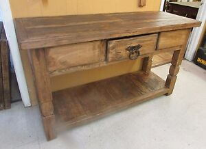 Rustic Pine Sofa Table-Mexican-60Lx21Dx35H-Furniture-Credenza ...