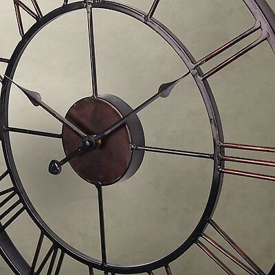 LARGE Metal Wrought Iron Hampton WALL CLOCK French Provincial Rustic Bronze Y