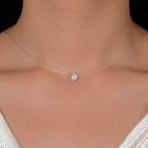 Women-Fashion-Crystal-Necklace-Invisible-Line-Zircon-Clavicle-Chain-Accessories