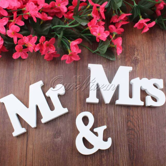 Mr & Mrs Wooden Letters Wedding Decoration Present Vinyl Words Decal 8cm Height