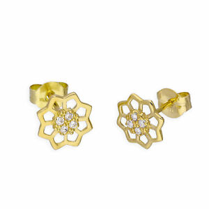 9ct Gold Flower Stud Earrings New
