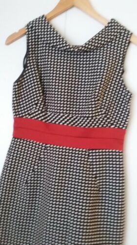 Robe 6 Ricco rouge doublée noire fourreau Cute Donna à taille blanche glissière Entièrement et wE61dPA