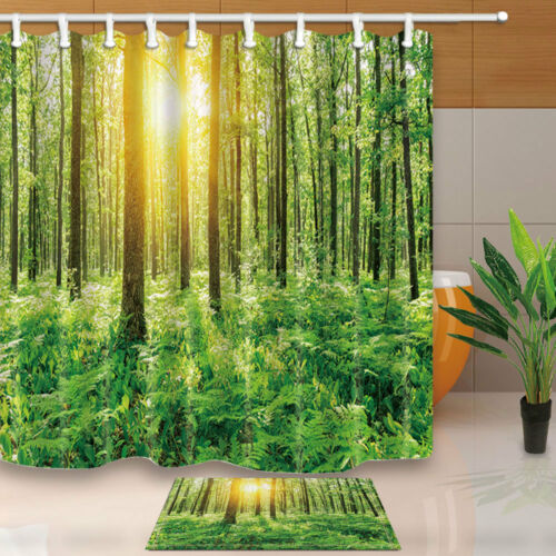 Deep forest with ferns in a sunny day Shower Curtain Bedroom Fabric & 12Hooks