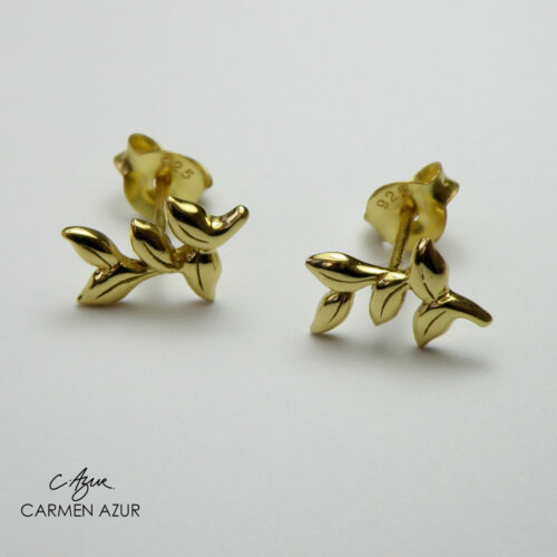 New with Gift Bag 18ct Gold on 925 Sterling Silver Stud Earrings Olive Branch