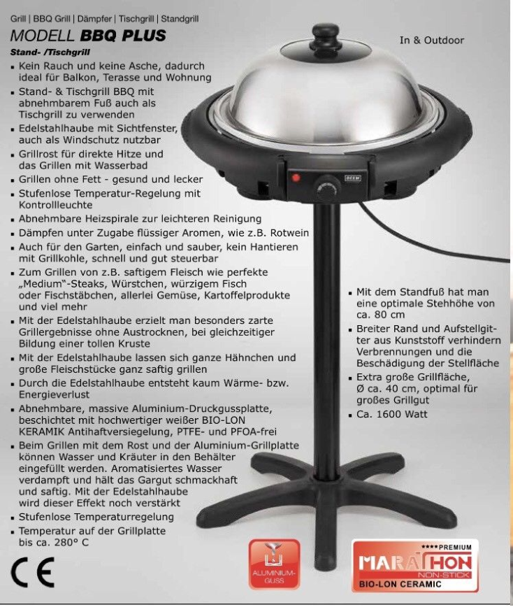 BEEM Elements of Lifestyle Electric Barbecue 1600 W 230 V - 50 Hz