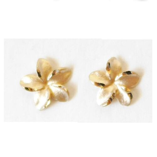 E2526-70 6 mm 14K Solid Yellow Gold Hawaiian Plumeria Flower Earring 1//4 inches