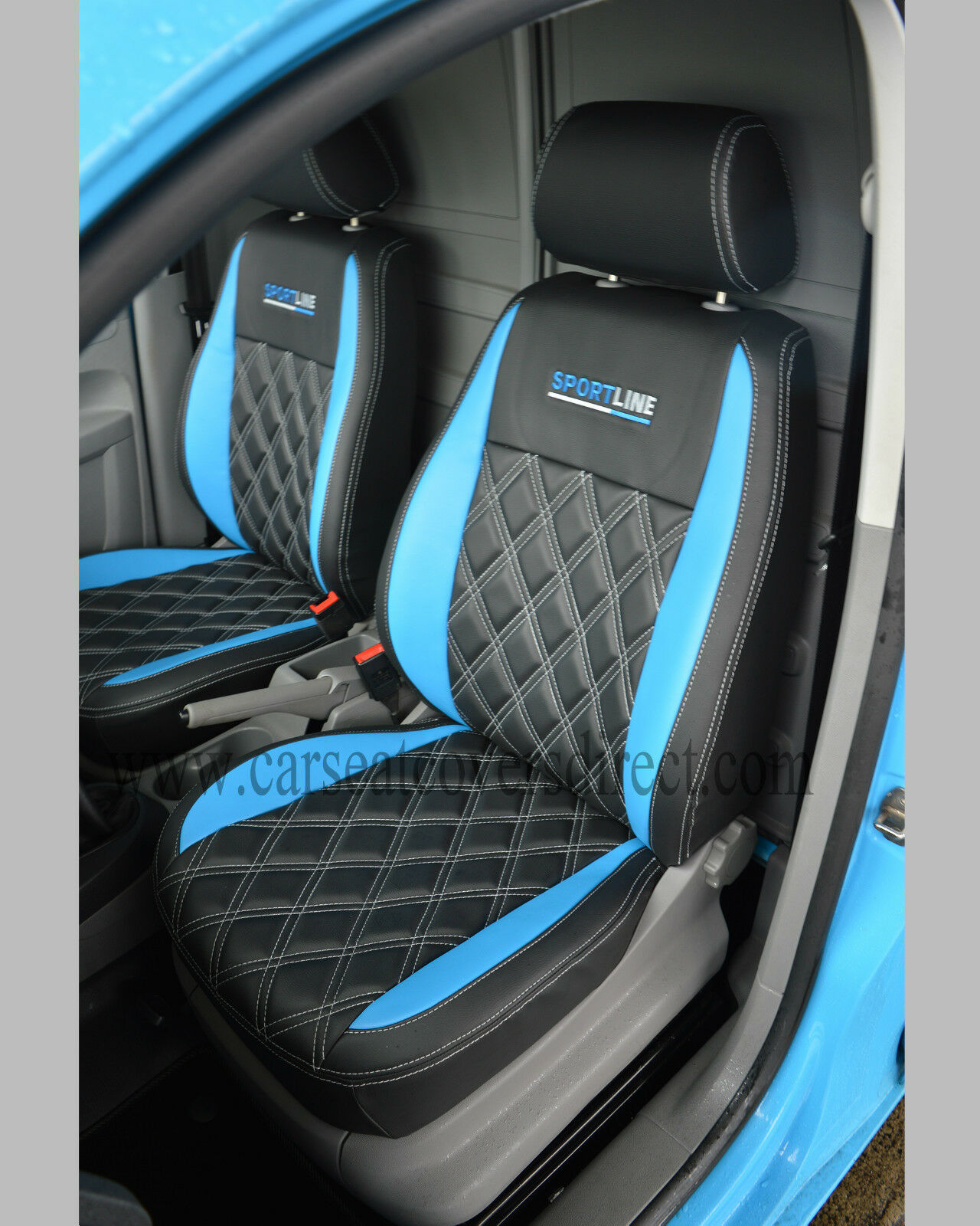 volkswagen vw caddy van tailored seat covers black blue with diamonds. Black Bedroom Furniture Sets. Home Design Ideas