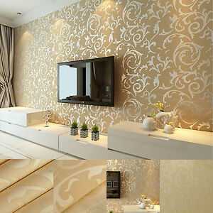 Image Is Loading 3D Gold  Victorian Damask Luxury Feature Embossed Background
