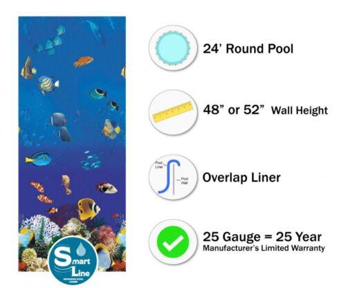 25 Gauge 24/' Round Overlap Caribbean Above Ground Swimming Pool Liner