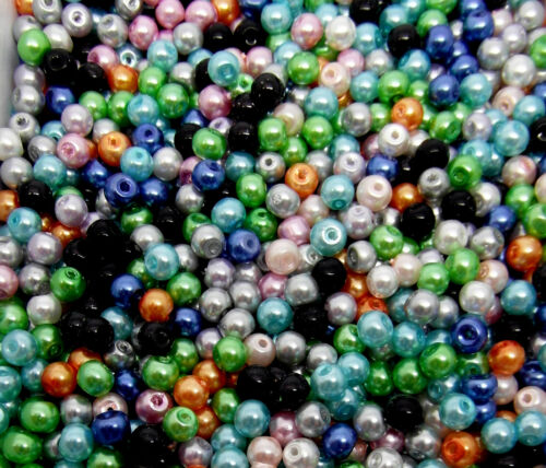 100 Glass Imitation Pearl Beads 4mm Mixed Coloured Pack J14323XF