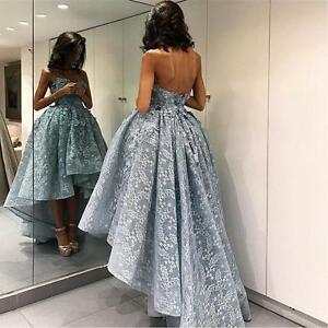 bd810f8e1524f 2019 High Low Silver Lace Arabic Evening Prom Dresses Formal Party ...