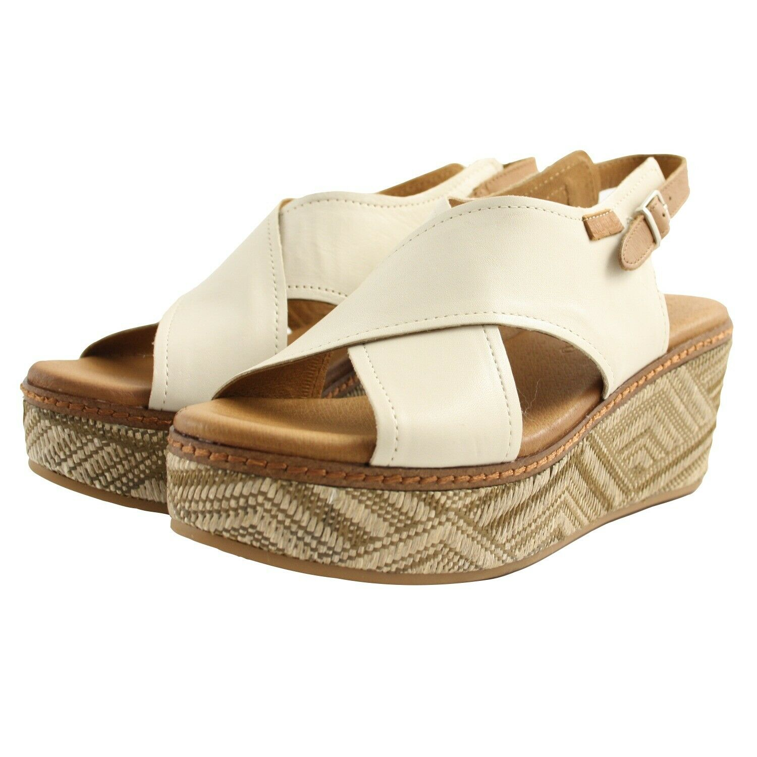 Shoes Sandals Summer Carmela Womens Beige Leather Brown Leather Wedge Comfortable