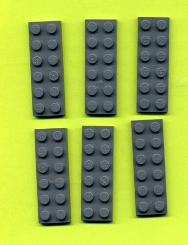 6 Stück Grau/DKStone Grundstein --- Bauplatte 2 x 6 Lego 3795