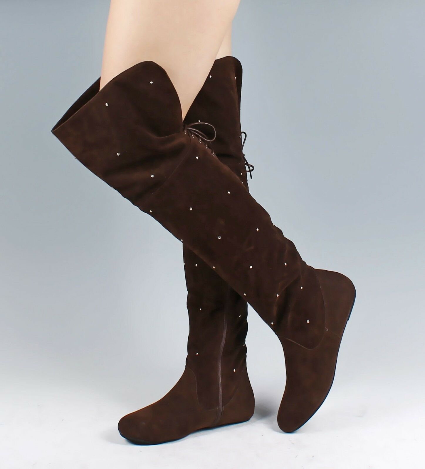 Brown Color Fashion Lace Up Foldable Womens Knee High Boots Shoes US Size 6.5