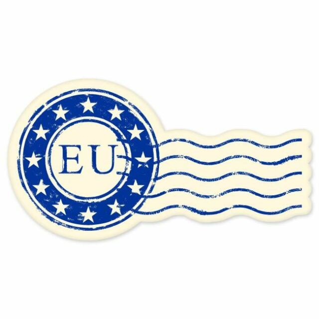 "EU European Union travel car bumper window suitcase sticker 3"" x 6"""