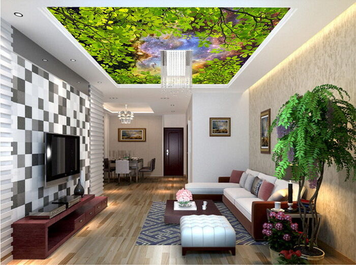 Green Tree Leaves Night Sky  Ceiling Wall Mural Wall paper Decal Wall Art