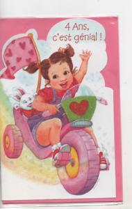 Carte Anniversaire 4 Ans C Est Genial Petite Fille Velo Paillette11 Cm X 17 Cm Ebay