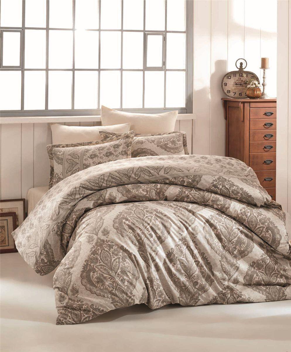 Bettwäsche 135x200 cm Bettgarnitur Bettbezug Baumwolle Kissen 6 tlg TALYA BRAUN