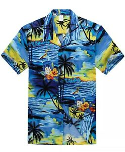 PALMWAVE-Short-Slv-Hawaiian-Shirt-XL-Surfer-beach-palm-floral-like-Hilo-bahama