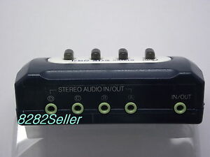 4-PORT-3-5mm-STEREO-Manual-Sharing-Switch-AUX-Audio-Speaker-selector-1m-Cable