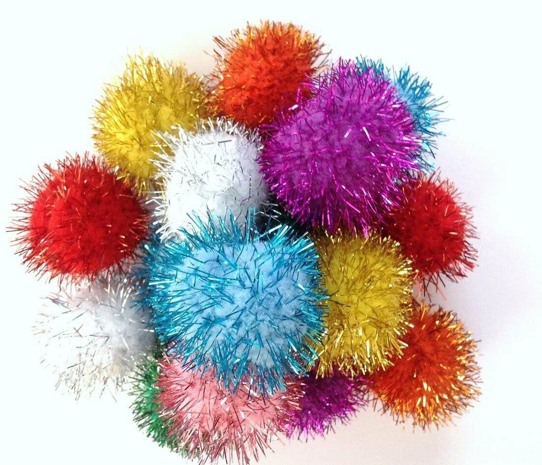 2000pcs Mini Assorted Glitter Tinsel POM POMS Balls Colorful Cats Kittens Toys