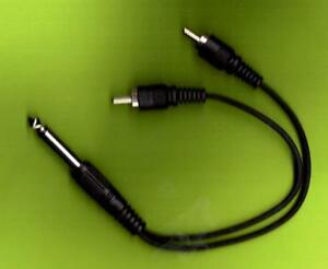 Mono-Jack-Plug-to-2-Male-RCA-Plugs-amp-Short-Lead-NEW