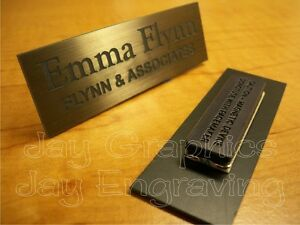 Details about Custom Engraved 1x3 Brushed Bronze Name Tag | Badge & Magnet  | Employee Magnetic