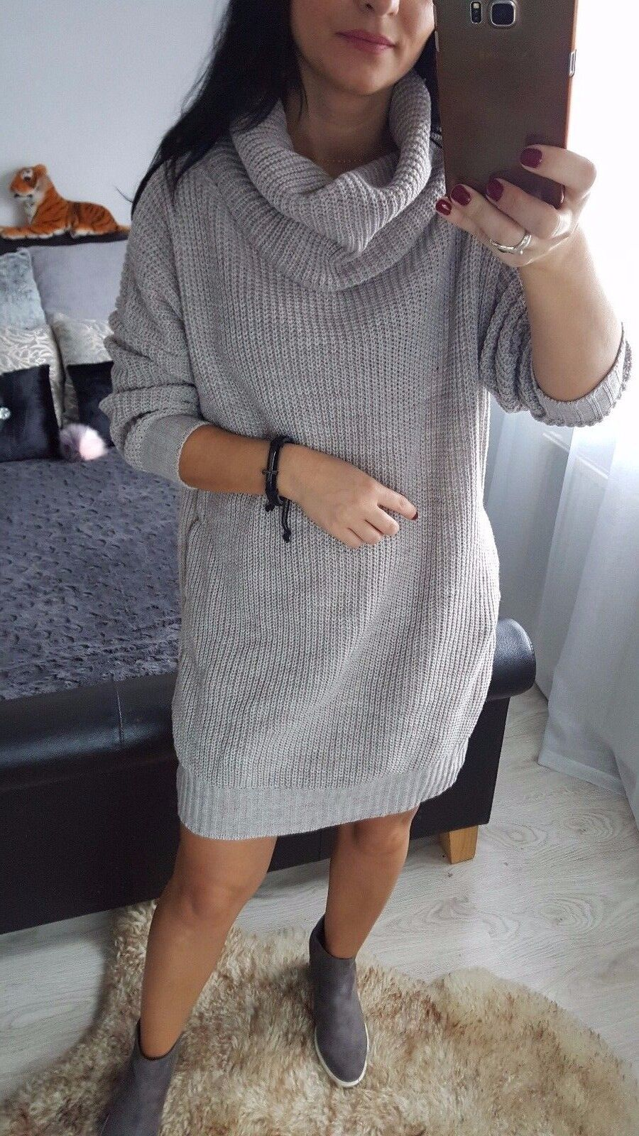 NEW Fashion Oversize Women's Ladies Girls Jumper Dress long sleeves casual