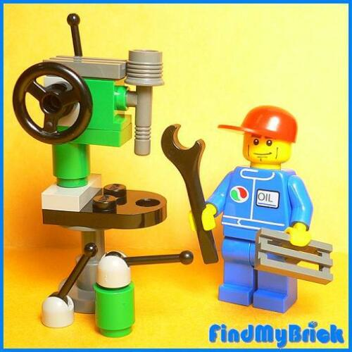AC109 Lego Mechanic Minifigure with Drill Press /& Tool NO Instruction 7324 NEW