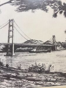 Details About Drawing In Black And White Golden Gate Bridge San Francisco Lithograph