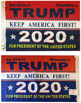 """Trump 2020 /""""Keep America First/"""" Double Sided 100D Woven Poly Nylon 12/""""x18/"""" Flag"""