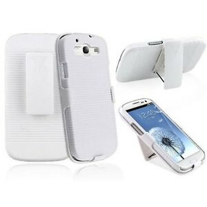 SAMSUNG-GALAXY-S3-WHITE-HARD-SHELL-HOLSTER-CLIP-COMBO-CASE-ARMOR-COVER-KICKSTAND