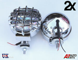 12v-Car-Van-4x4-6-61-034-inch-Chrome-Covers-Round-Halogen-Driving-Spot-Lamps-Lights