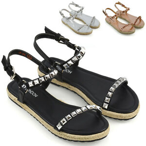 Details about Womens Flat Strappy Studded Espadrilles Ladies Platform Summer Holiday Sandals