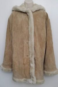 Wilson-Womens-Leather-Coat-Medium-Brown-Button-Up-Faux-Fur-Quilted-Lined