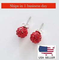 Crystal Glass Stud Earrings (Red) ~ US Seller ~ BRAND NEW (Quick Ship)
