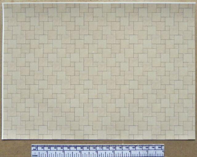 Victorian Floor Tile Self Adhesive Dolls House Wallpaper 1//12th Vinyl Sheet