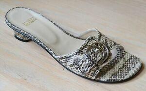 Stuart-Weitzman-Caliper-Natural-Rio-Snakeskin-Slides-Shoes-Size-7-5-N