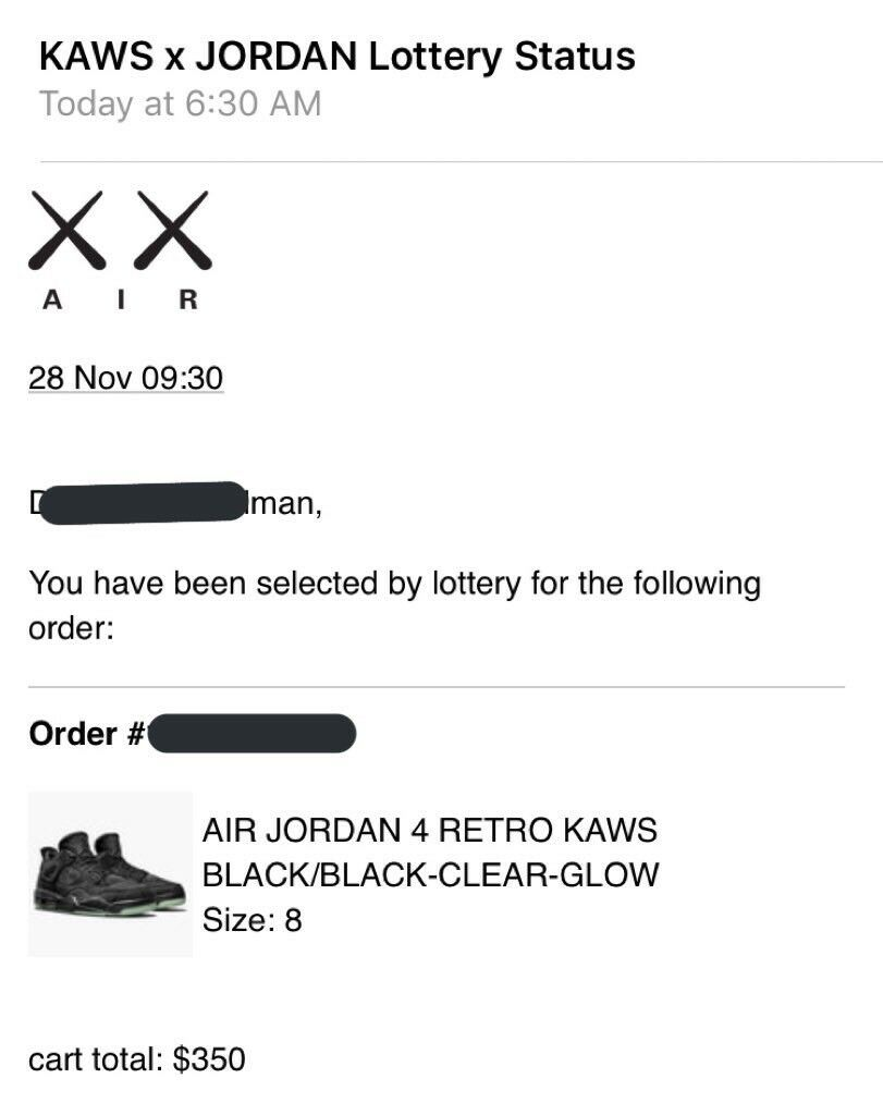 Black air jordan retro 4 kaws
