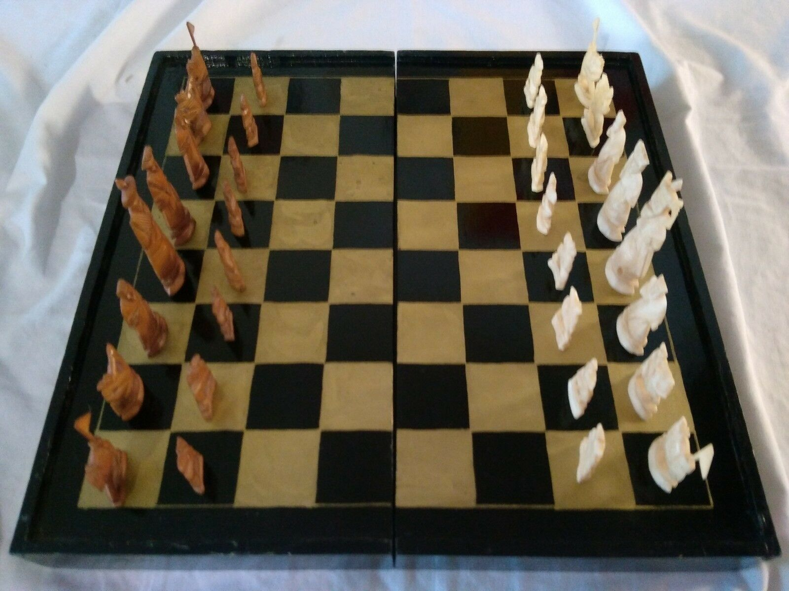 Jeu  d'échecs ancien bois laqué peint main chess gioco jeu de société complet  acquisti online