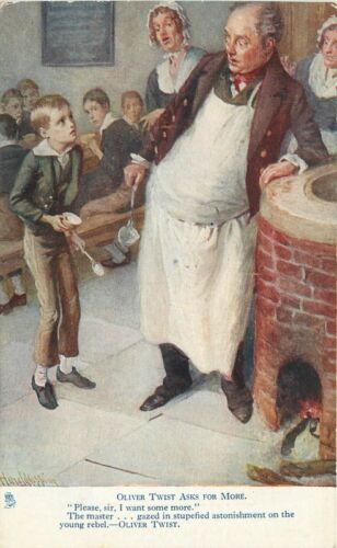 Artist Impression C1910 Oliver Twist Asking for more Oilette Tuck postcard 1320