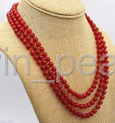 """Exquisite 3 Rows 6mm Natural Red Jade Gemstone Round Beads Necklace 18/"""" Jewelry"""