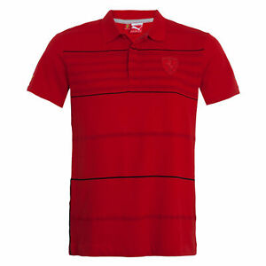 perspectiva Antorchas Pintura  Camisa Polo Para Hombre Puma Ferrari A Rayas Casual Ventilador Camisa Rojo  564233 02   eBay