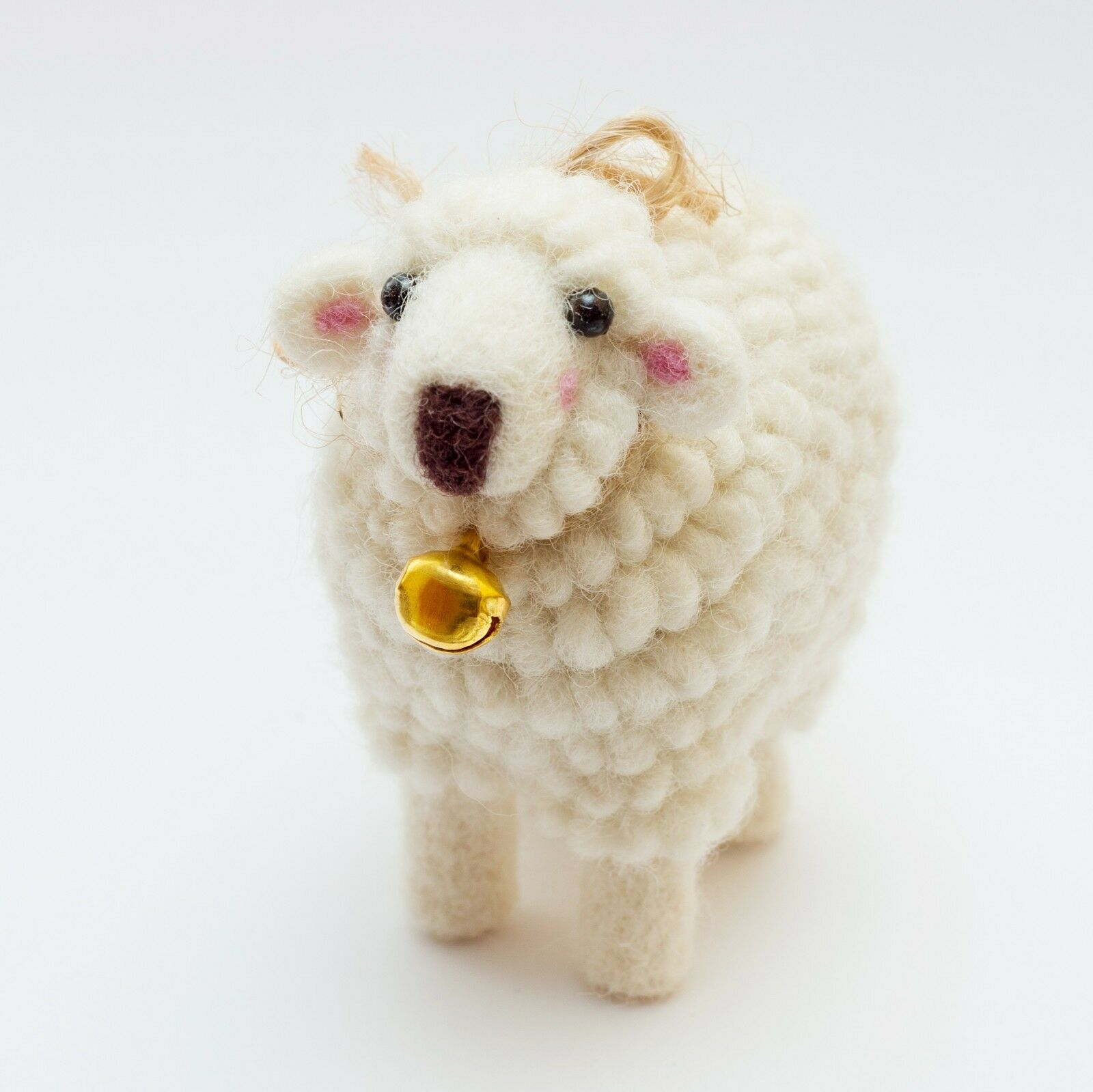 Wool Toy Sheep Miniature Weiß Soft 100% Needle Felted  Sheep Gift Decor