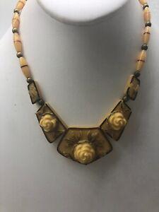 Vintage-Celluloid-Flower-Bead-Necklace-Unique-Older-Piece-Cream