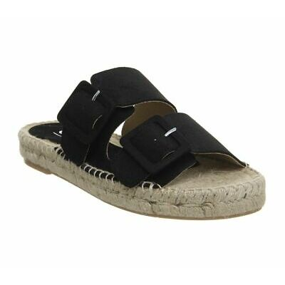 Womens Office Selfish Double Buckle Espadrilles Black Suede Sandals